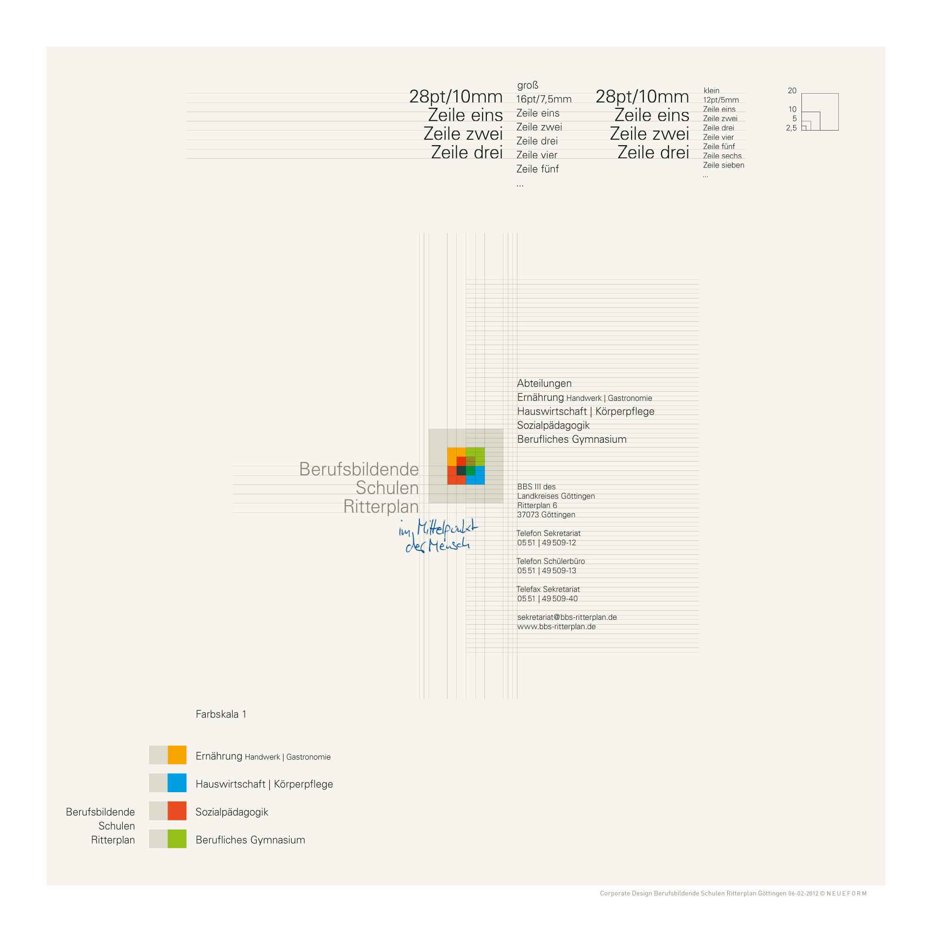 BBS III Göttingen, Wort-Bildmarke - Farb-, Größen- und Positionssystematik im typografischen Kontext