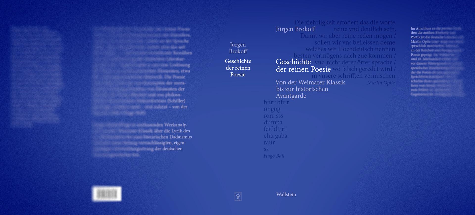 Jürgen Brokoff - »Geschichte der reinen Poesie«, Schutzumschlaggestaltung