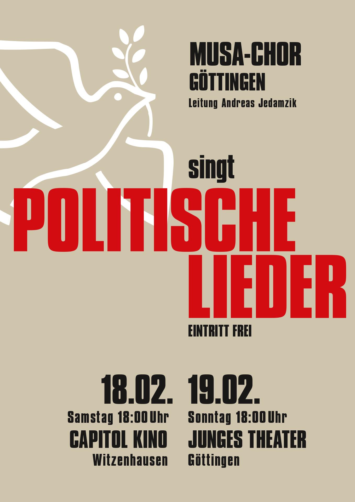 »Musa Chor – Politische Lieder« Göttingen, Veranstaltungsplakat