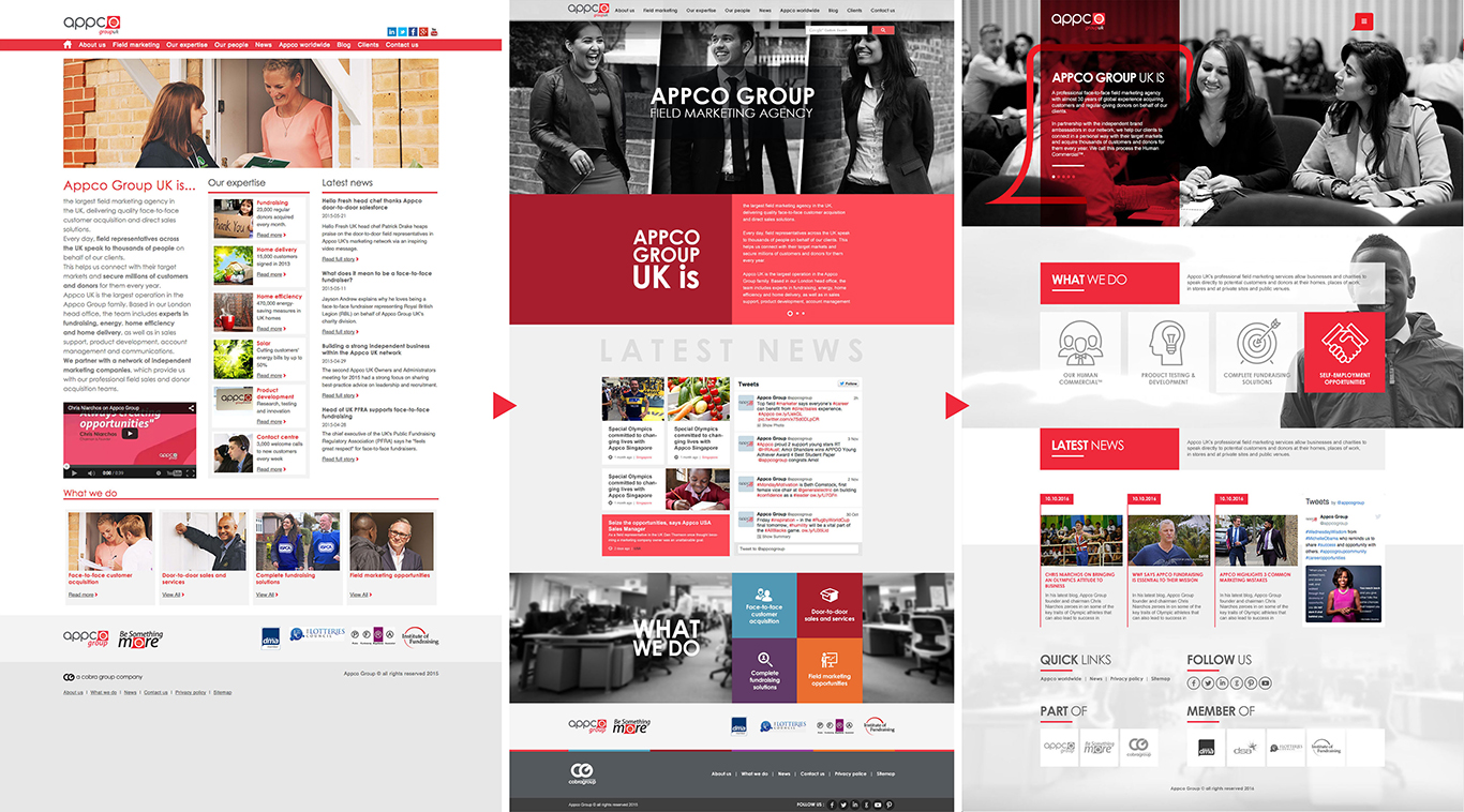 Website evolution from when I started in 2015, my first implementation in 2016 and the new concept 2017.