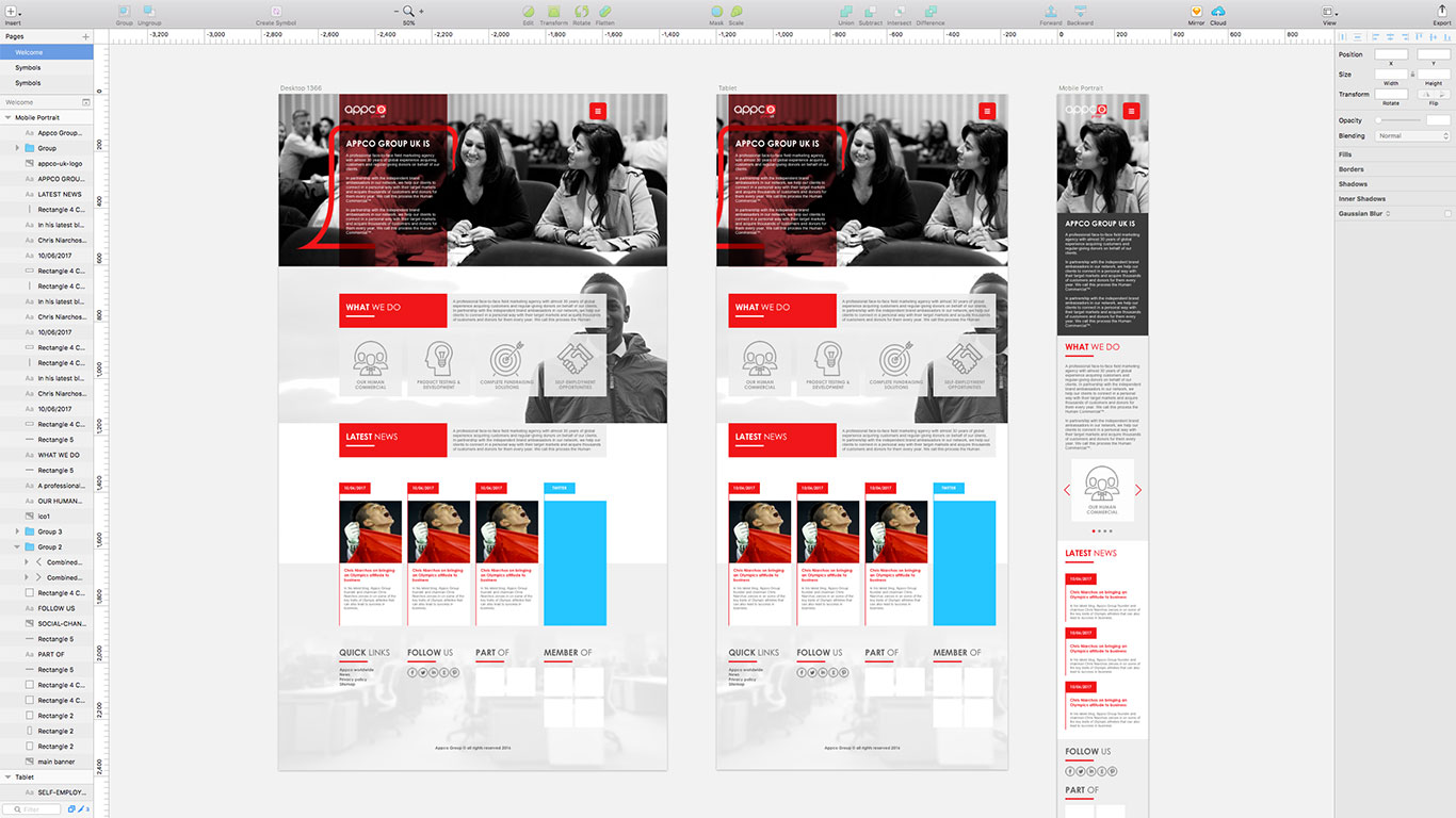 Prototyping new templates on Sketch