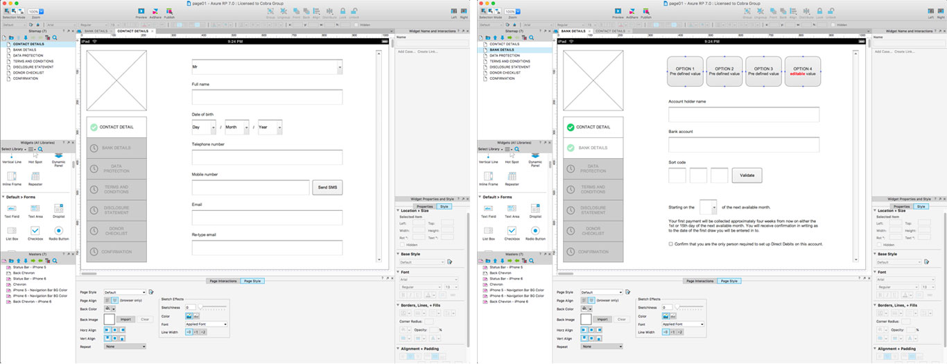 Axure version - First version used internally for proofing flow and content
