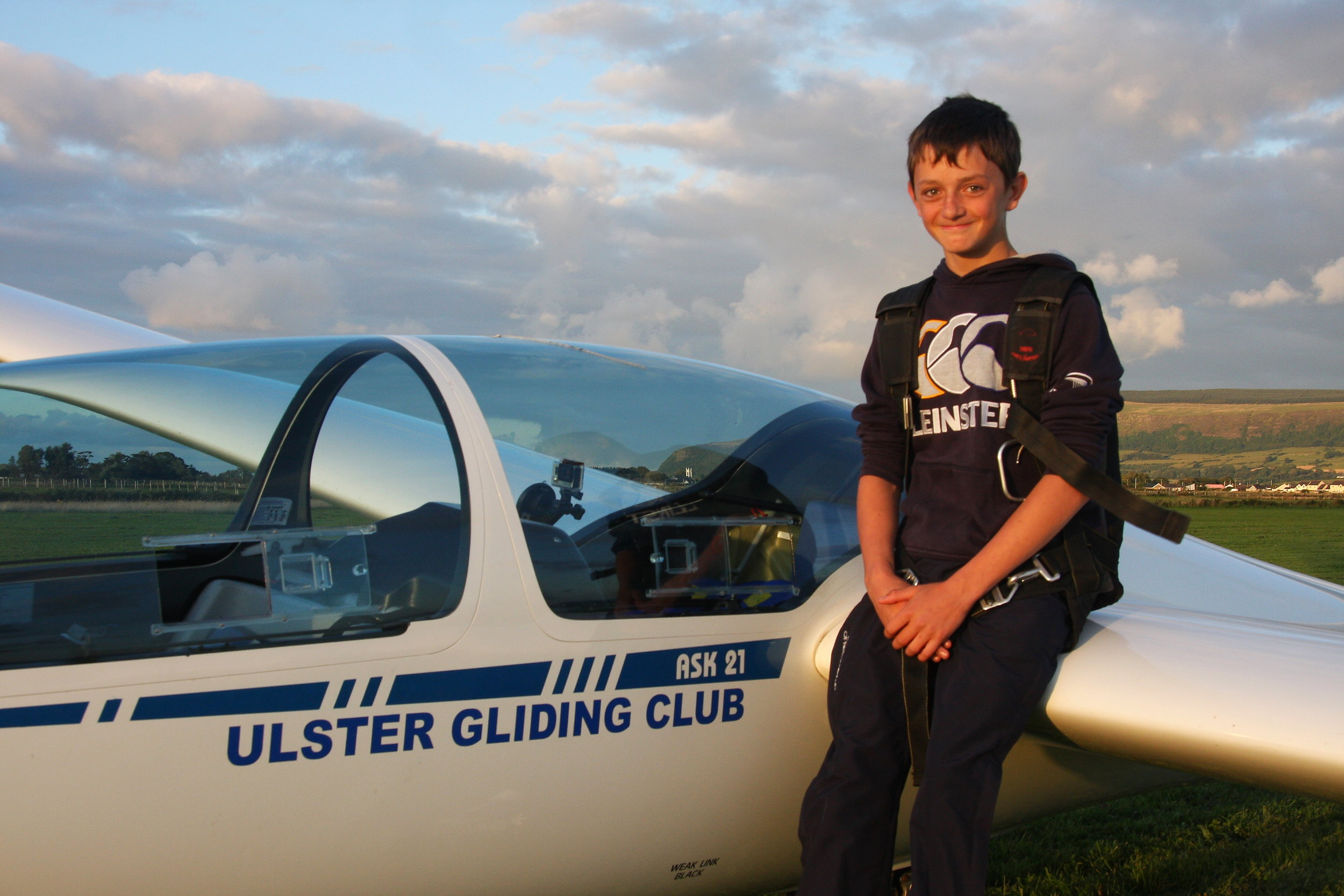 Harry Houlihan aged 14 yrs after achieving his first solo flight.