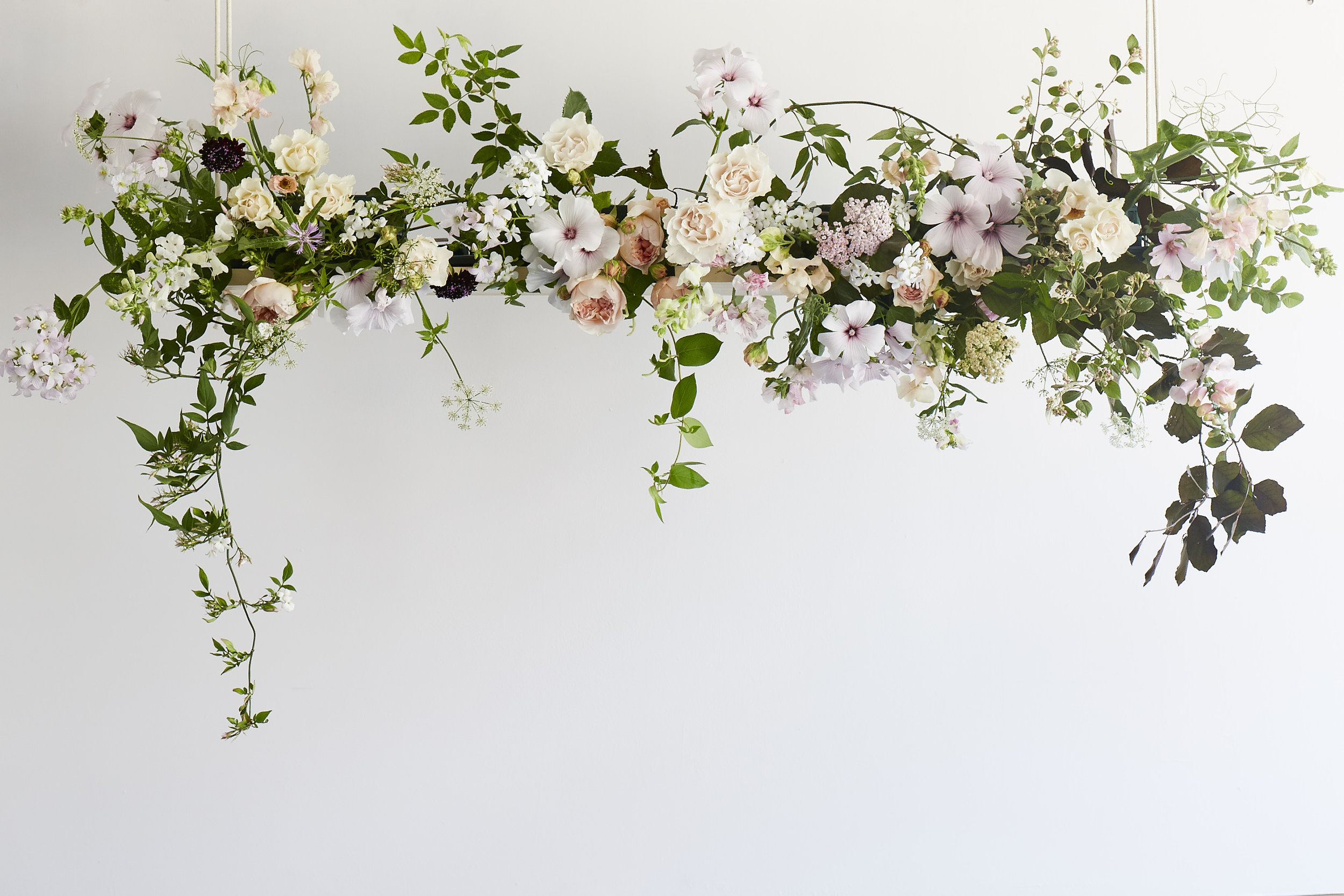 Wild, romantic, whimsical, natural, seasonal, hanging British, installation, flowers
