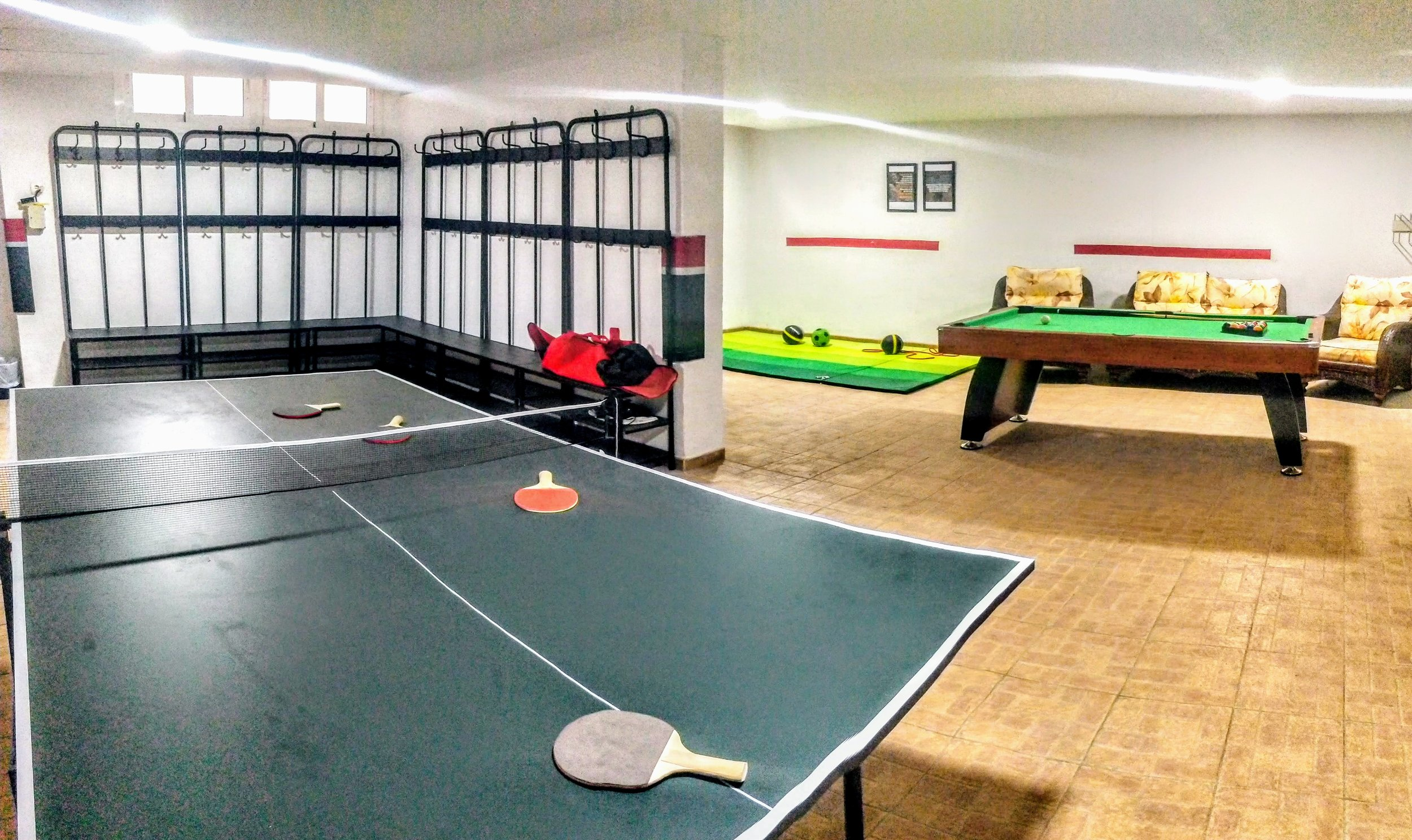 Table tennis and pool tables are available