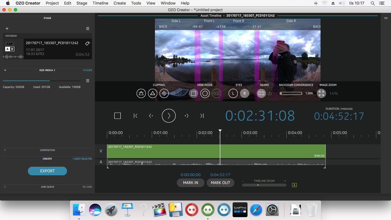 OZO Creator är programmet som exporterar och renderar de klipp du vill använda till ett format som du kan redigera med andra mjukvaror. Du kan välja var i bild du vill att de olika bilderna från sensorerna ska lappa över varandra.