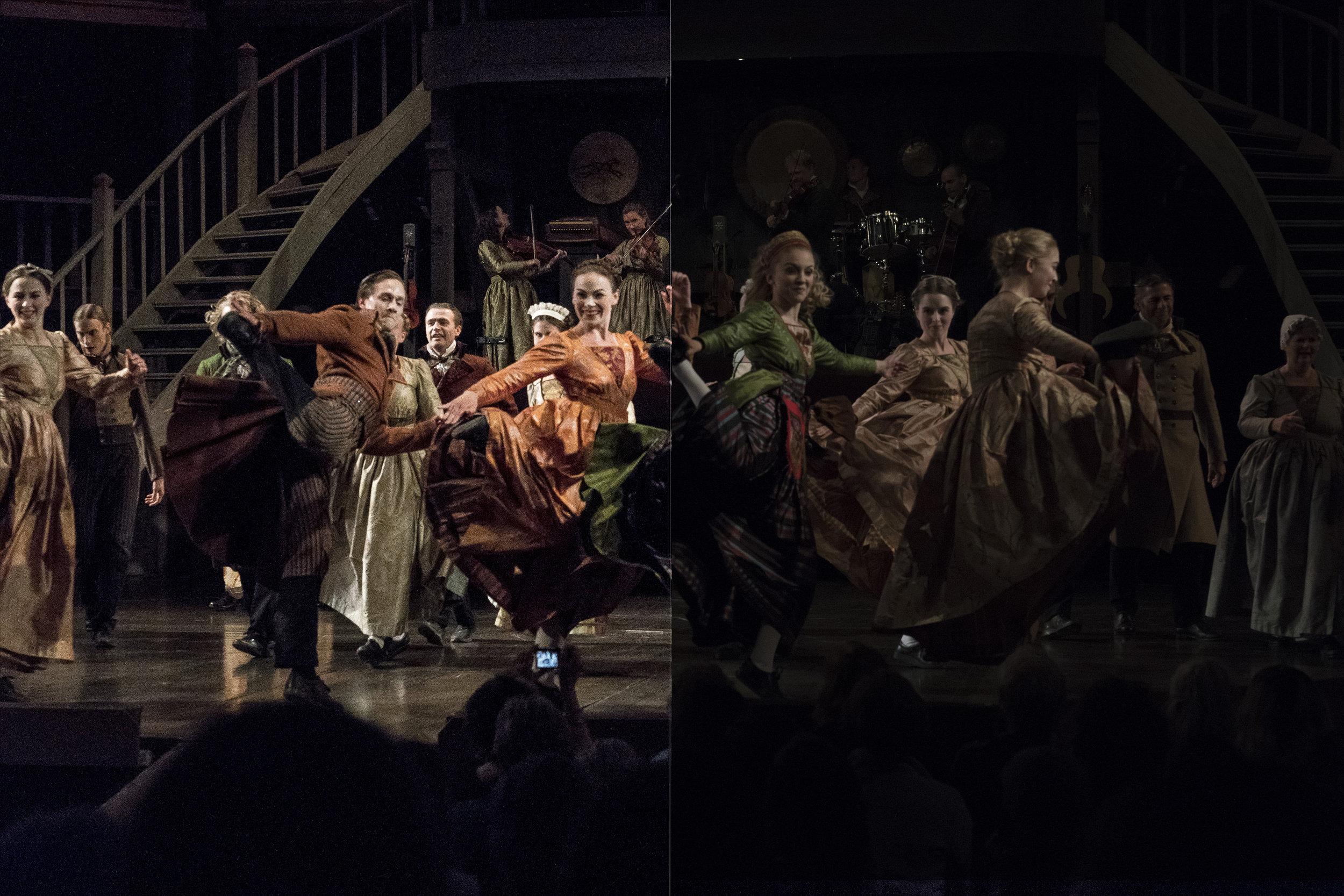 Vi fick inte fotografera under föreställningen av Charlotte Löwensköld med Västanå teater i Berättarladan i Sunne. Men vid applåderna i slutet var det tillåtet. För att inte bränna ur högdagrarna underexponerade vi. Till vänster redigerat, och till höger obearbetat. (ISO6400, f 5,6, 1/1250)