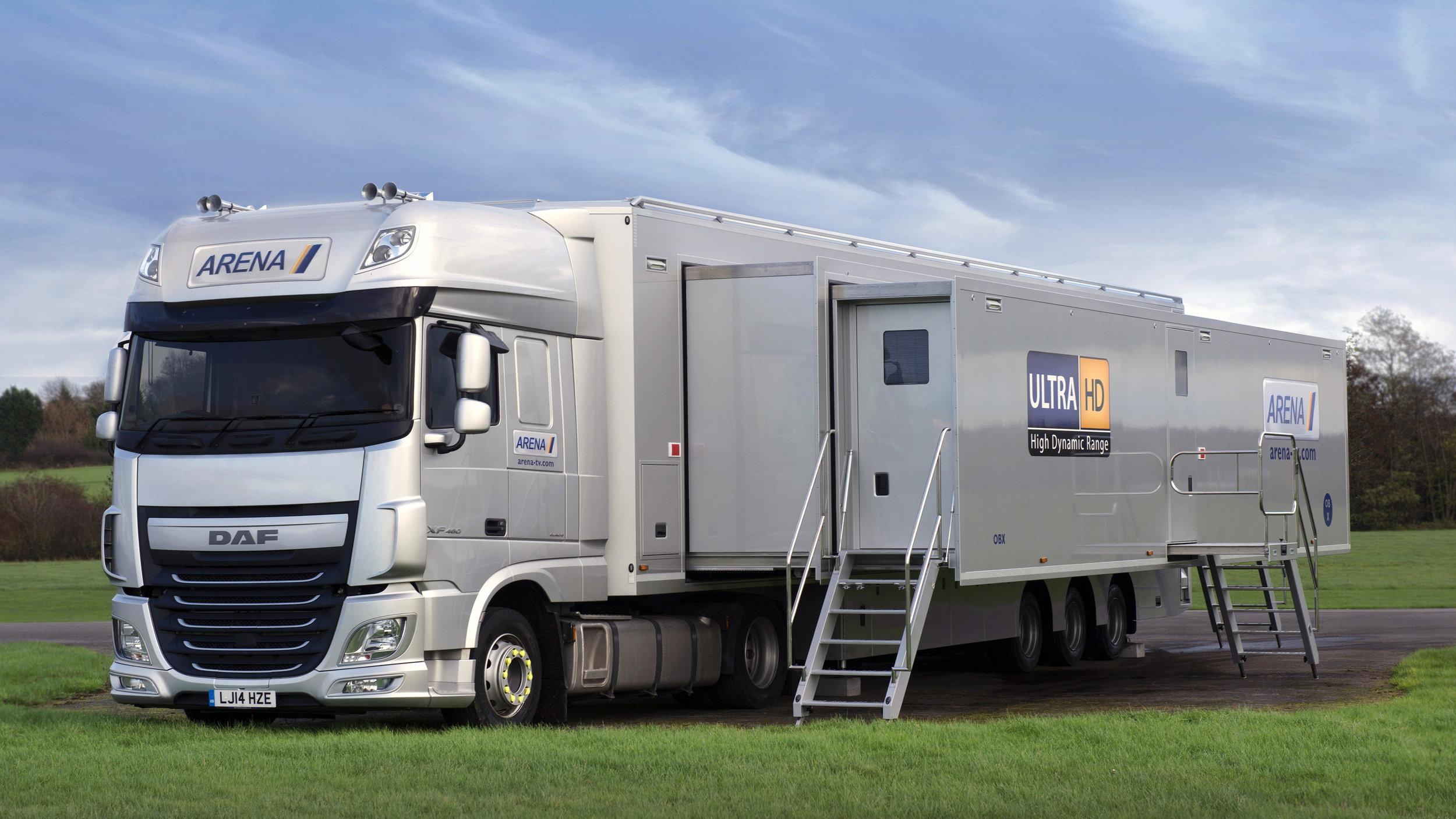 Arena TV:s OBX, den första IP-OB-bussen i världen, utrustad med en paketlösning från Grass Valley.