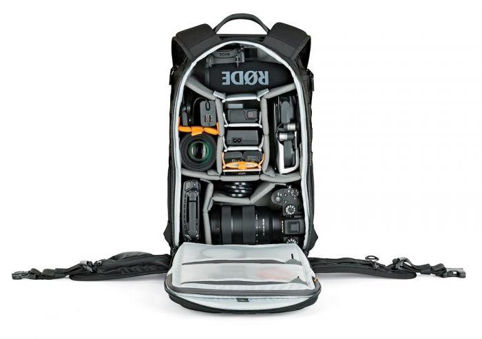 """BP 350 AW II lämpar sig bäst för 1-2 DSLR-kameror av standardstorlek (t.ex. Canon EOS 5D Mk IV, 6D Mk II, 7D Mk II, Nikon D810, D850 eller Nikon D500) med monterad 24-70mm f/2.8 normalzoom. Dessutom har den plats för en 13"""" laptop."""