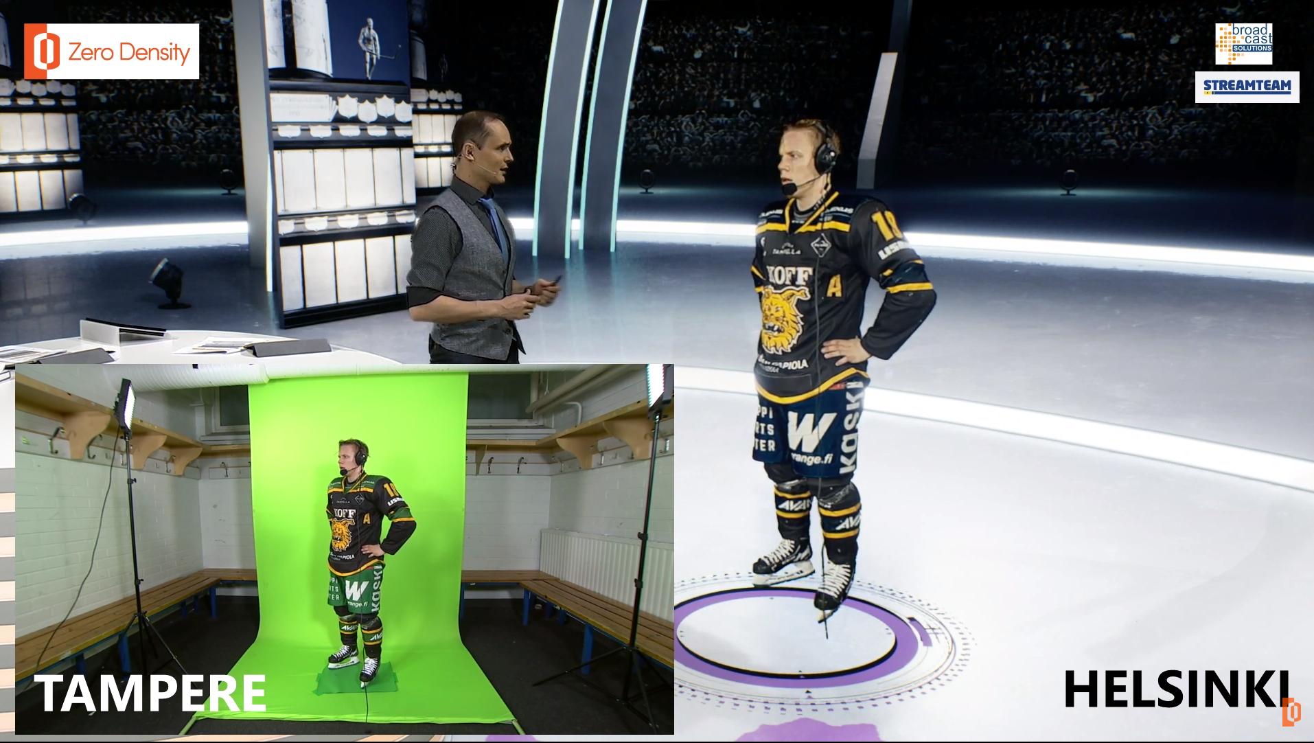 Vips så har Ilves assisterande lagkapten Teemu Raitiainen teleporterats till den virtuella studion.