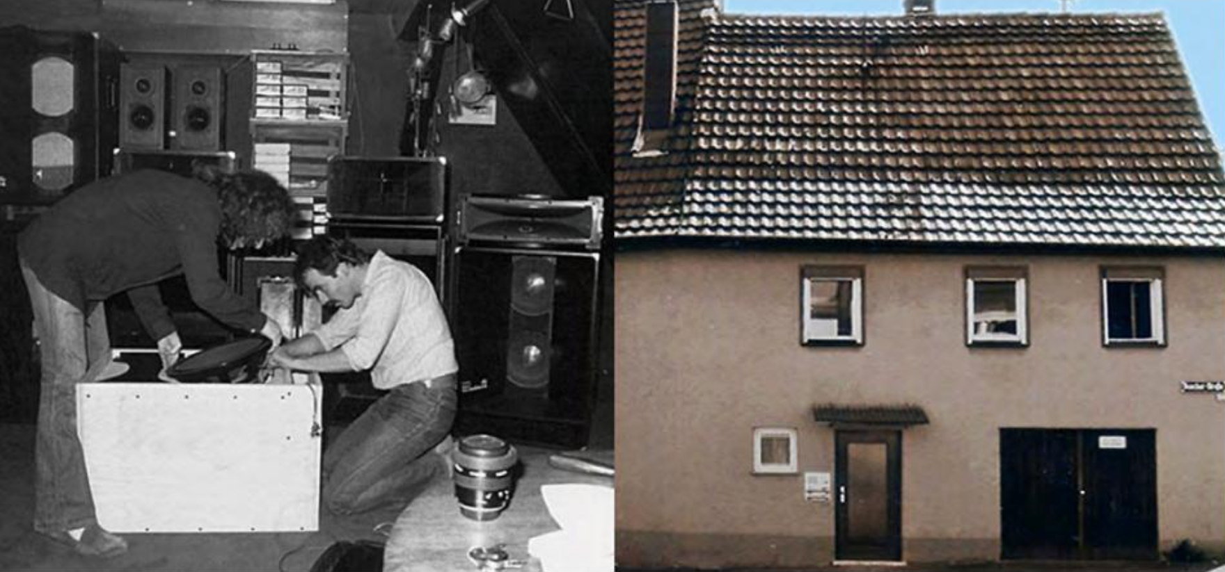 Jürgen Daubert (t.v.) och Rolf Belz (t.h.) tillsammans i garaget i Korb utanför Stuttgart. Till höger ser du byggnadens exteriör. Källa: d&b audiotechnik . Welcome to now.  https://issuu.com/dbaudio/docs/imagebrochure_i_am_35