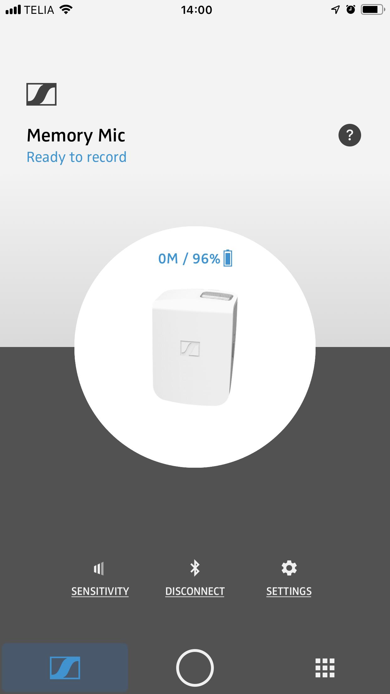Applikationen för att styra Memory Mic finns för Android eller iOS.