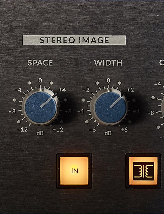 Två mitt/sida-kopplade kretsar med namnen Space och Width används för att justera stereobredden.