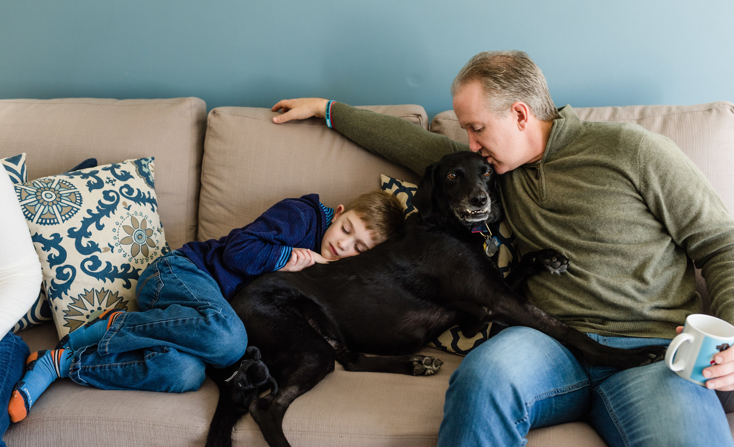 in home family session with dog montgomery county pa