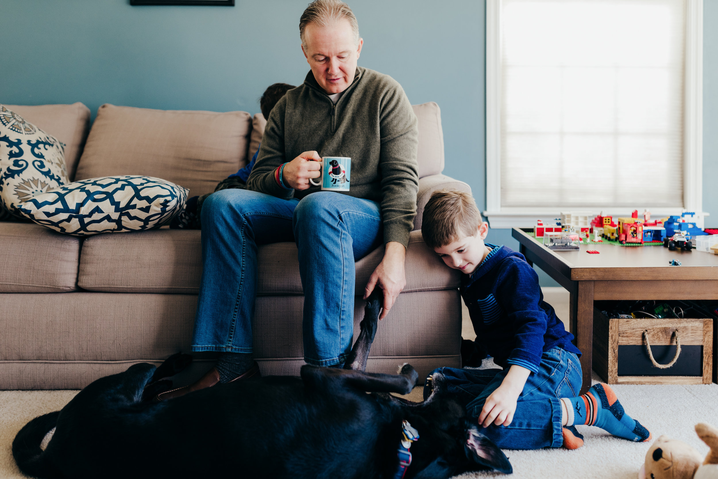 family session with dog dad son and dog