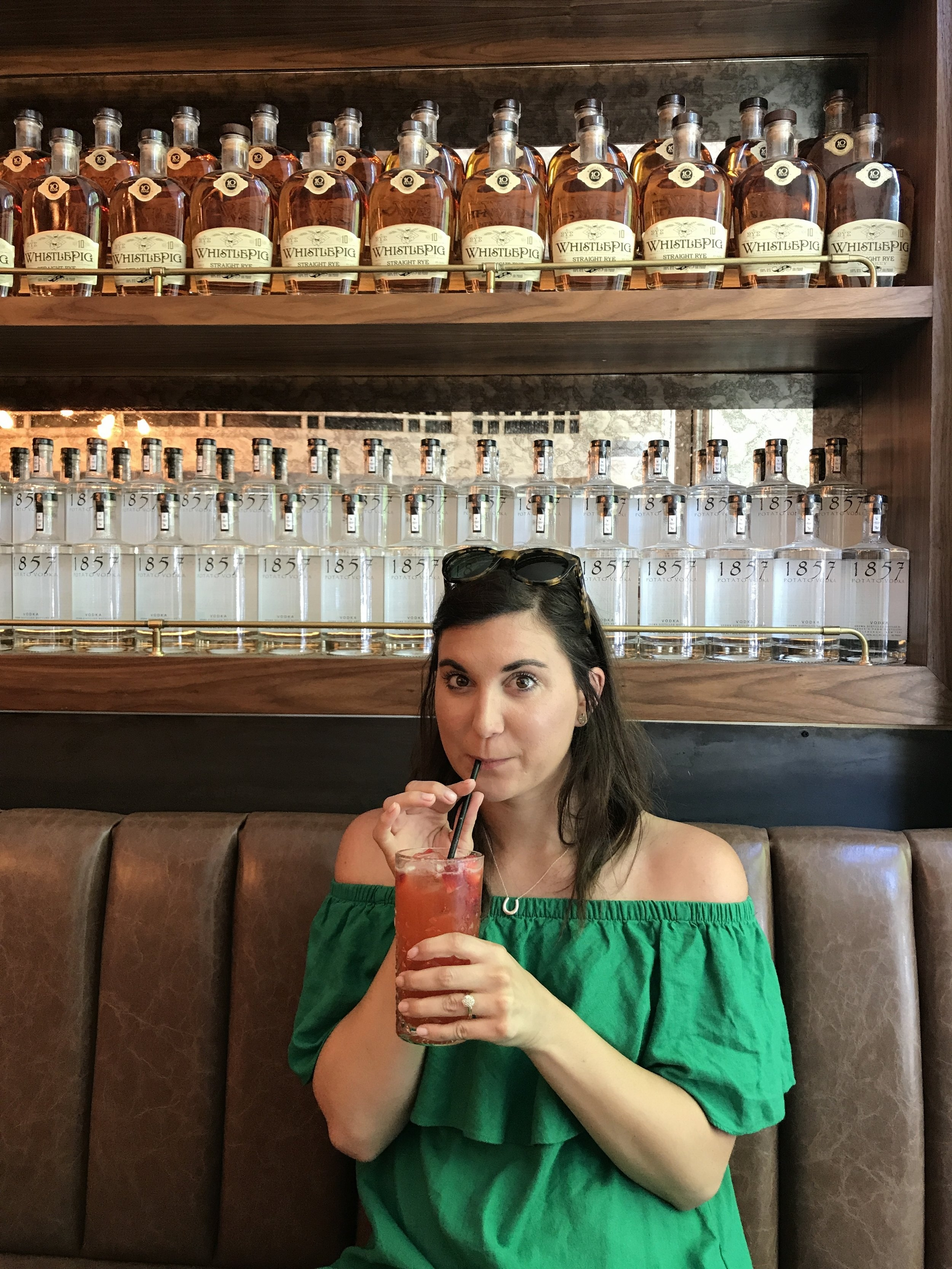 Sipping on Maison Pickles Strawberry Gin Fizz
