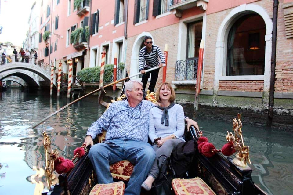 "Mom and dad checking ""gondola ride in Venice"" off their bucket list!"