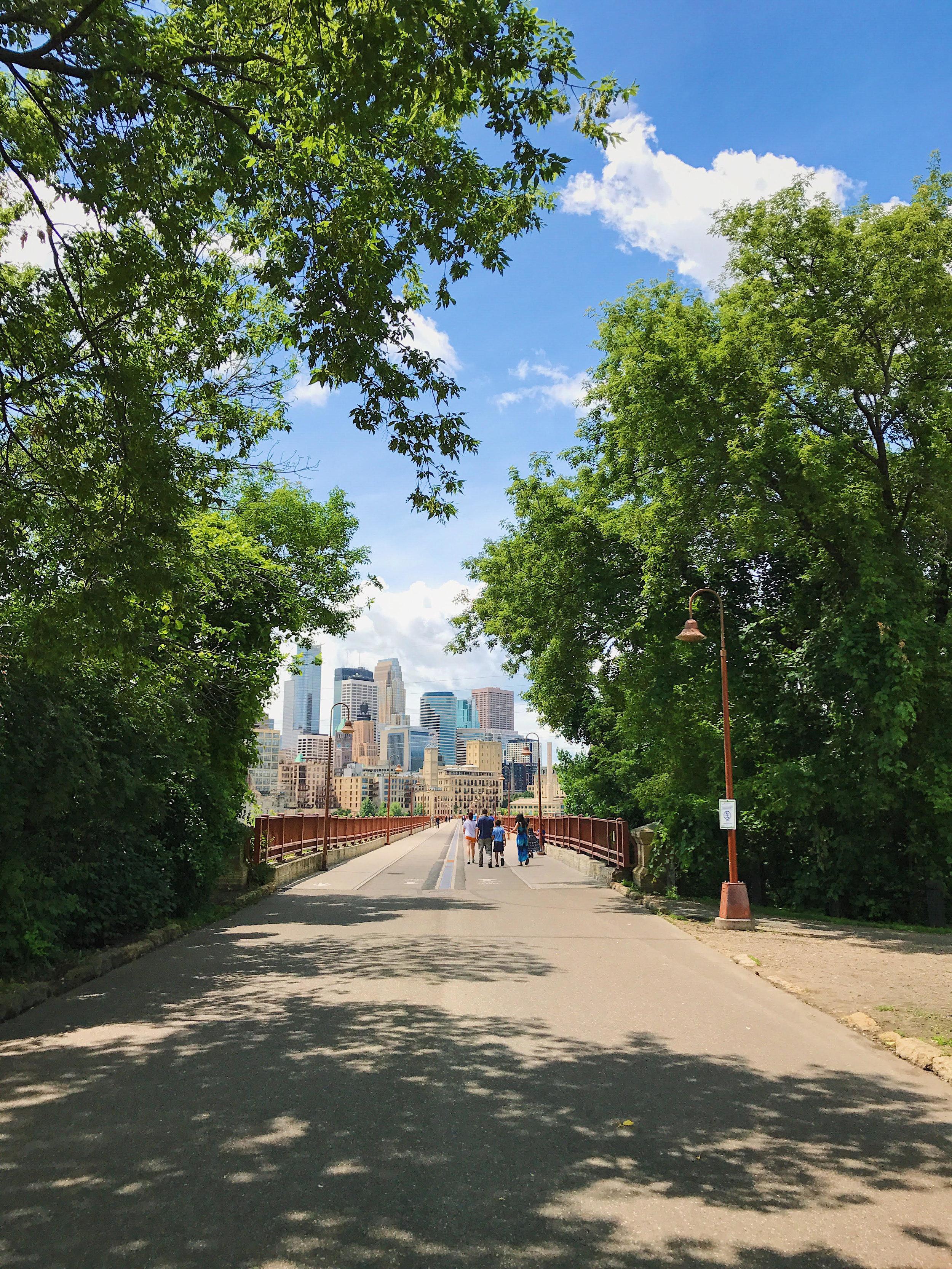 View across the Stone Arch Bridge into downtown Minneapolis