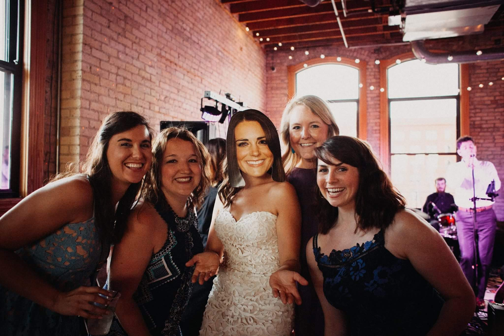 Flat 11- and Kate Middleton! Meggie brought the mask to my wedding and it was a hit!Now it's a tradition that Kate makes an appearance on the dance floor at every Flat 11 wedding! We have another one in 2018!