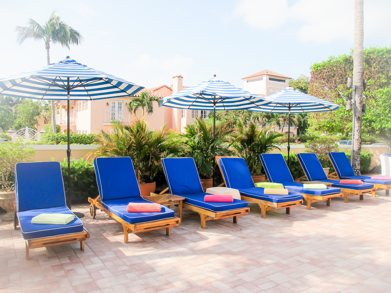 Pool chairs at The Colony Hotel