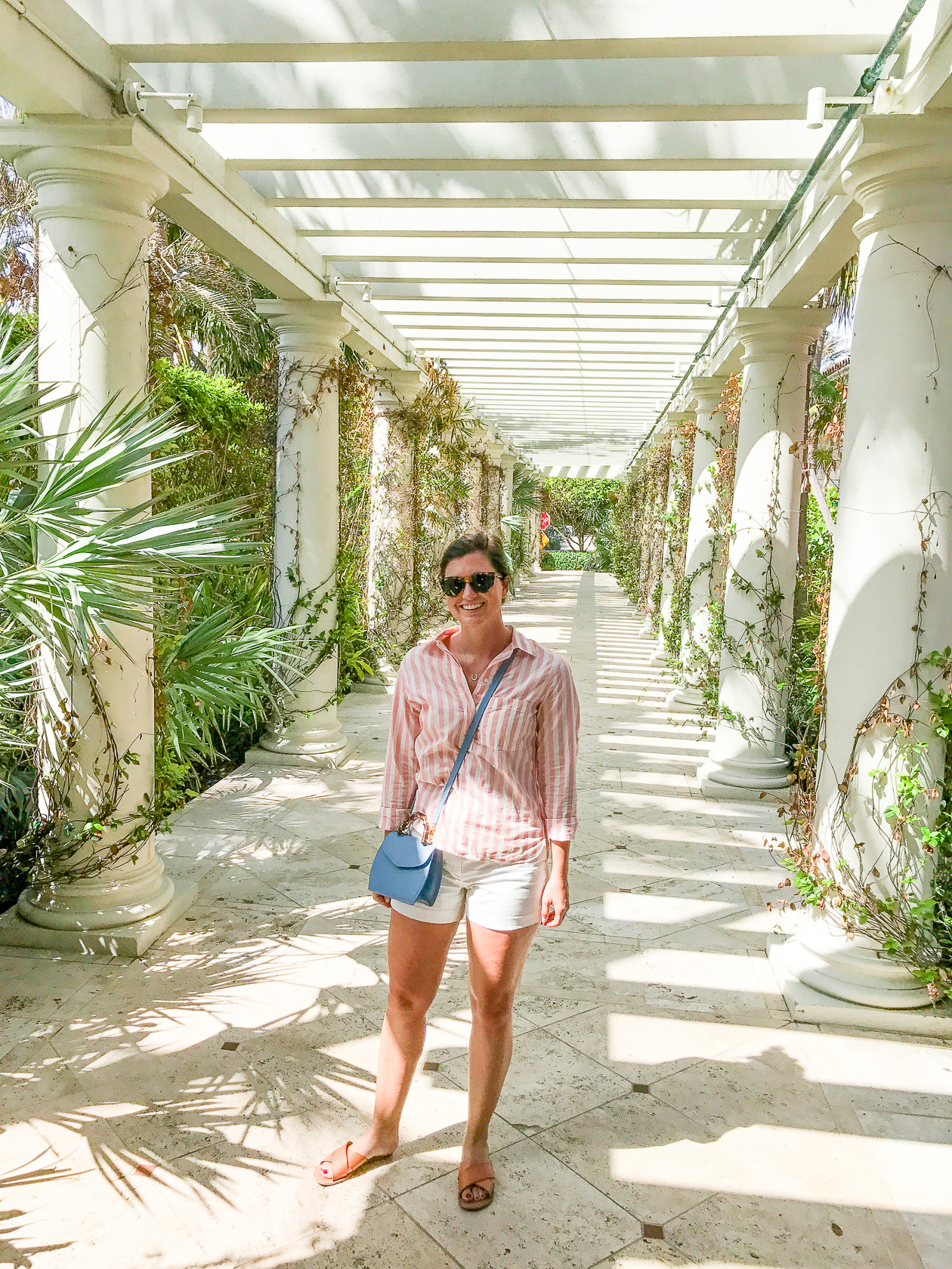 An outdoor hallway at The Breakers