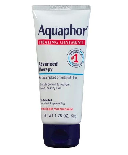 Aquaphor - I use this as lip balm and never forget to put it on my lips before I go to sleep. It really saves my lips from ever getting chapped!
