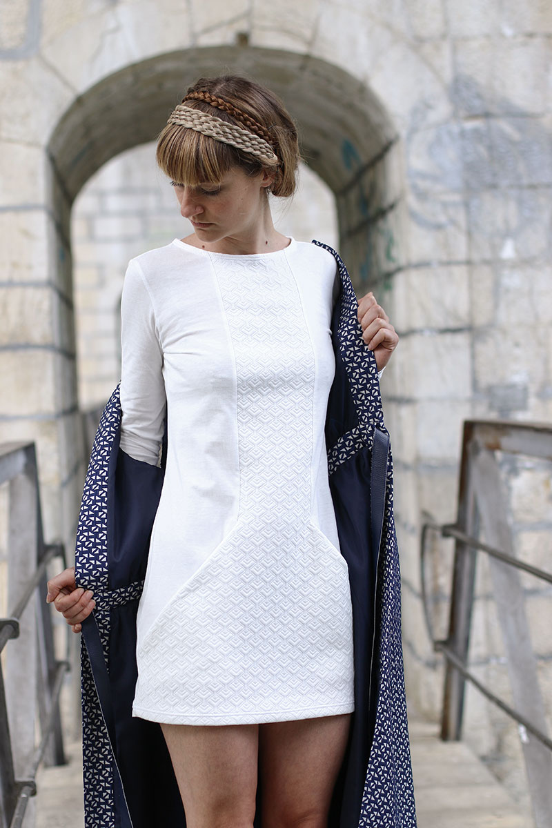 Prism is a comfortable and timeless dress made with stretch fabric.   This quick make features long sleeves, a graceful round neckline and slimming style lines that cleverly hide big roomy pockets. Sewing pattern by Wearologie
