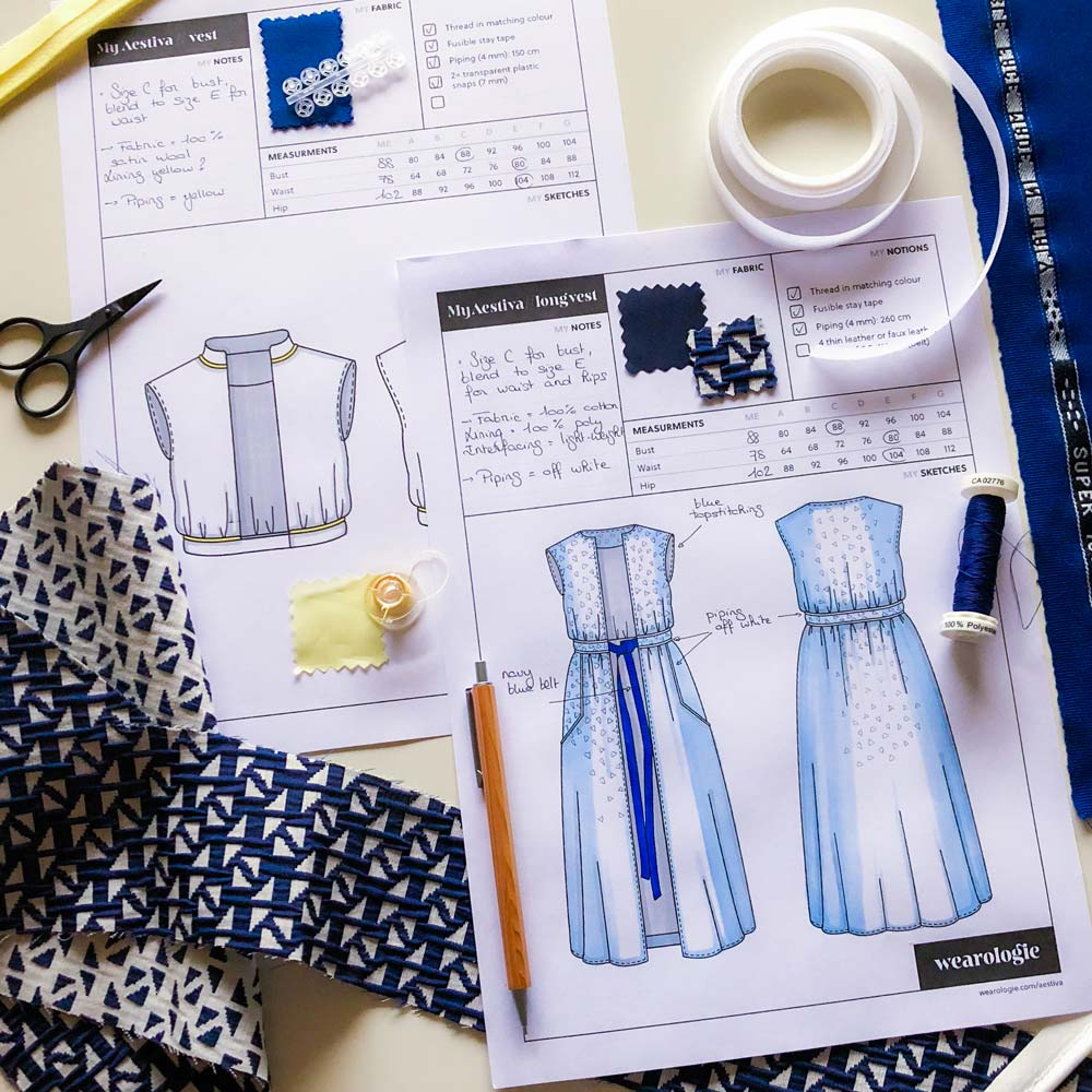 A filled Aestiva style-sheet on a desk. Sewing pattern and the style sheet are available on Wearologie.com