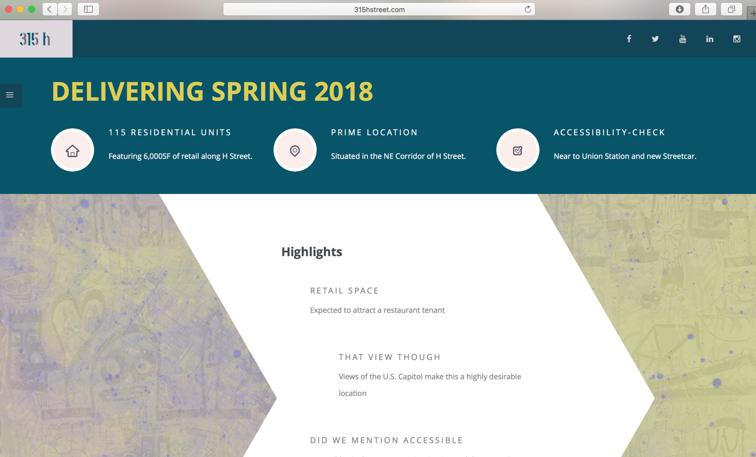 banner and highlights   opening date, key features of the property, and interactive highlights that activate during the page scroll.
