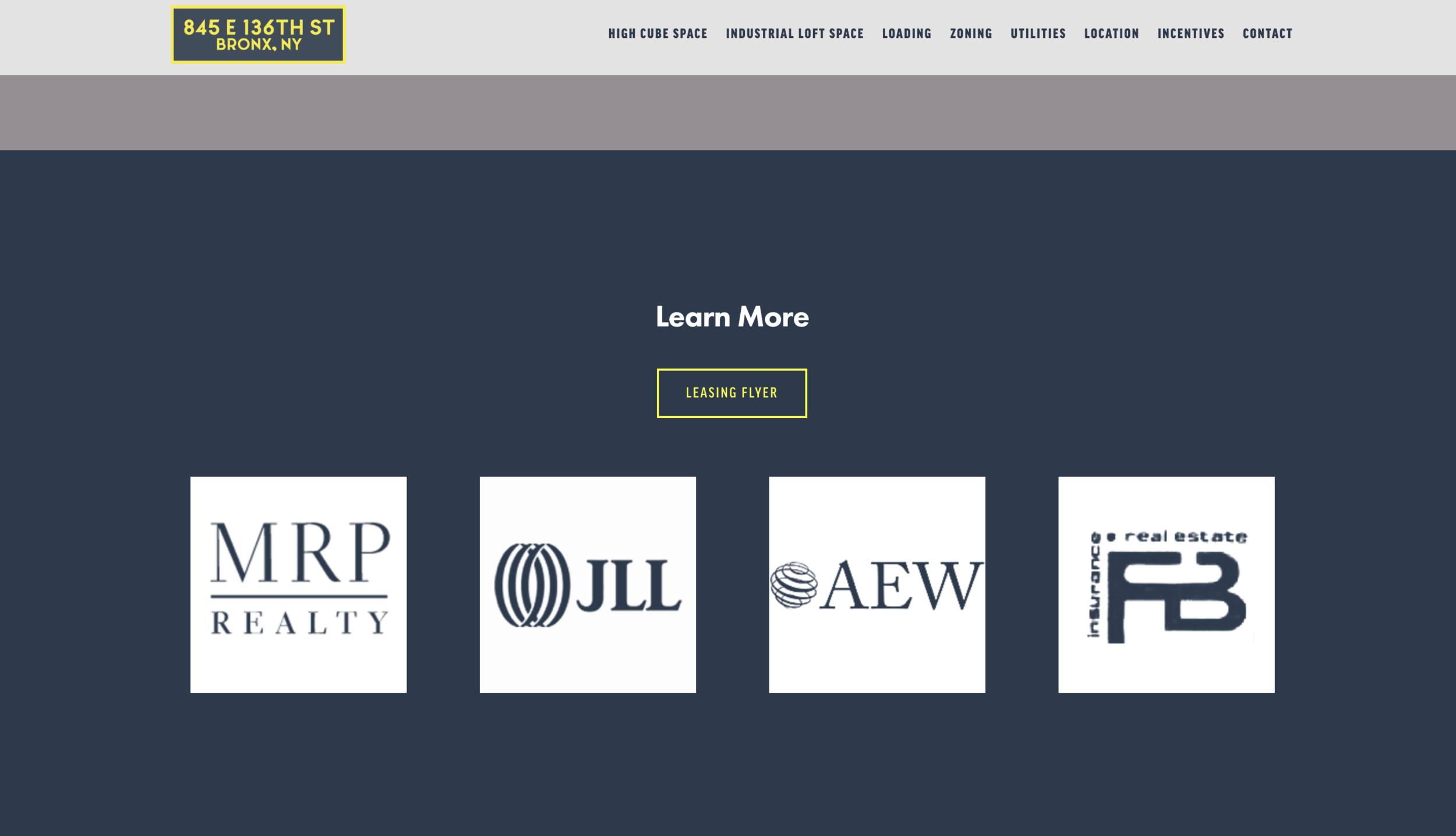 footer- company call out   link to the realty properties and with custom made white logo png files to simplify the design.