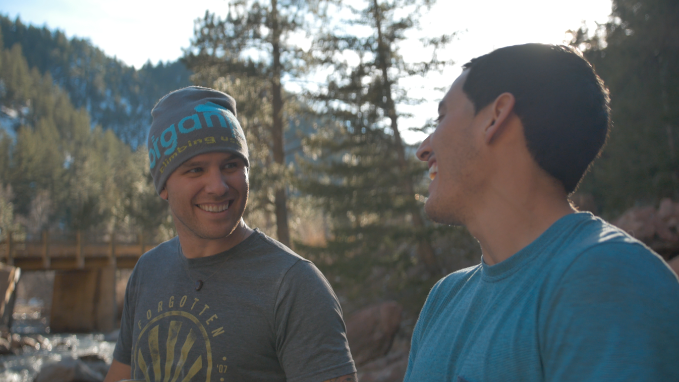 Having a good time bouldering in CO with Cesar Valencia