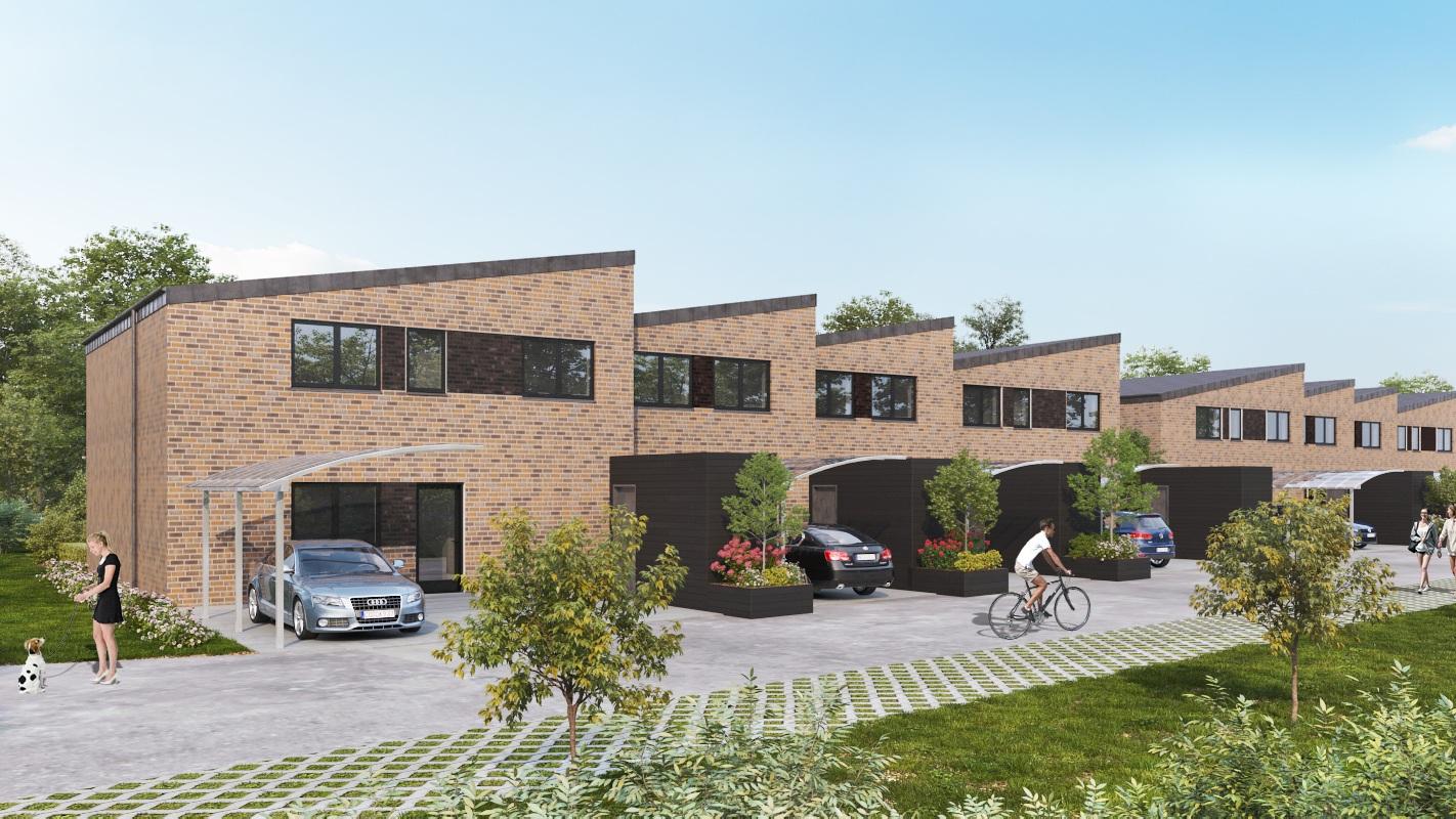 Lindebakken - I 2018 købte og udviklede vi byggegrunde til otte 2-plans rækkehuse i Tjørring, som hører til den nordligste del af Herning. Husene ligger tæt på både Holing- og Fuglsang Sø, ligesom Løvbakkerne også er i nabolaget. Derfor er ikke blot husene luksuriøse, men omgivelserne er også helt unikke.