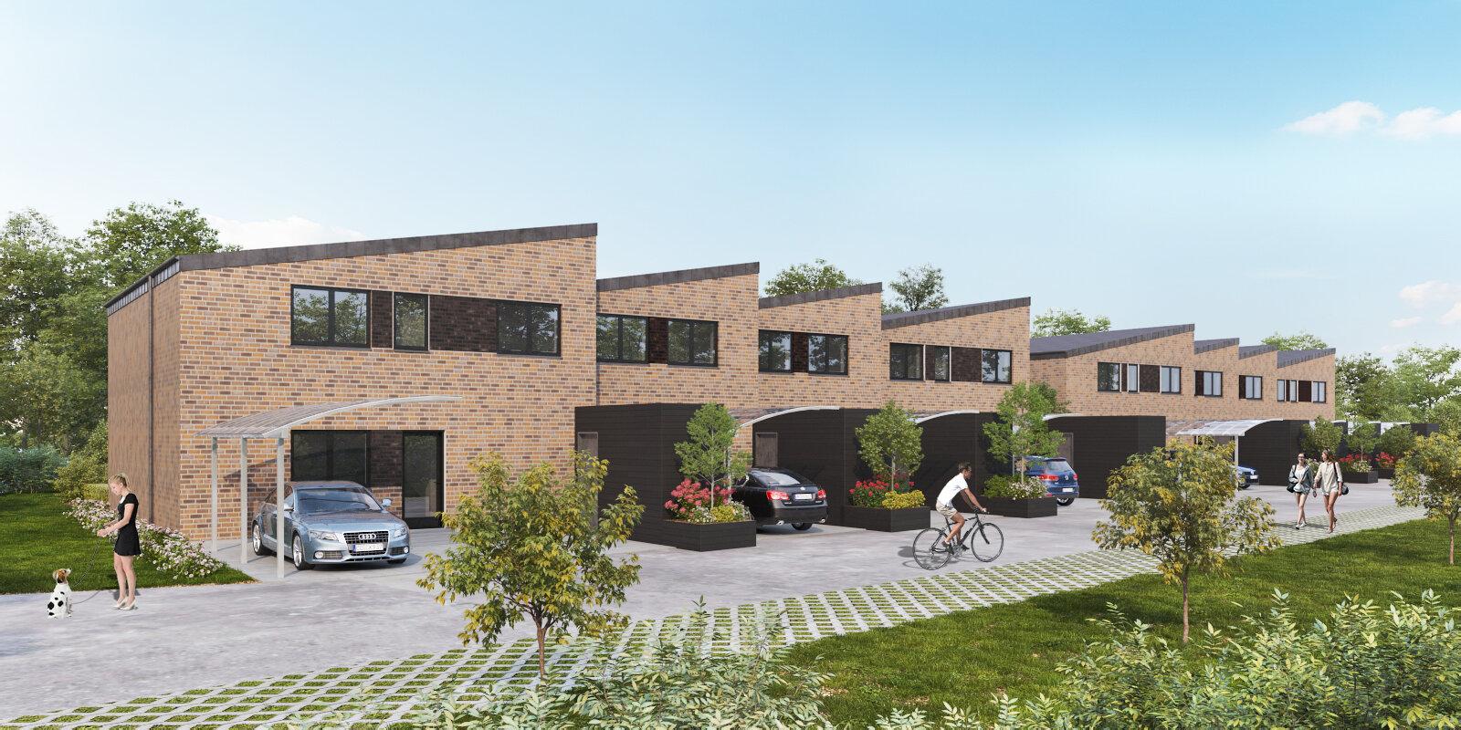 3D tegning af de 8 huse på Lindebakken.