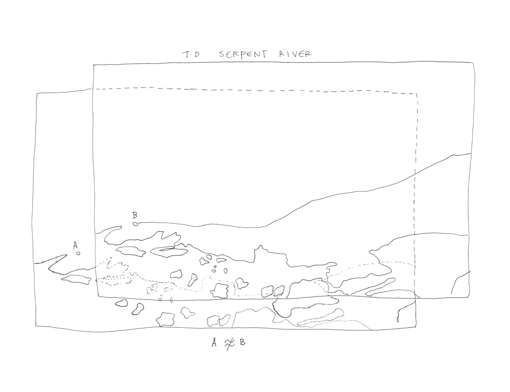 """Suzanne Morrissette, 2011,  To Serpent River , ink on paper, 11"""" x 8.5""""."""