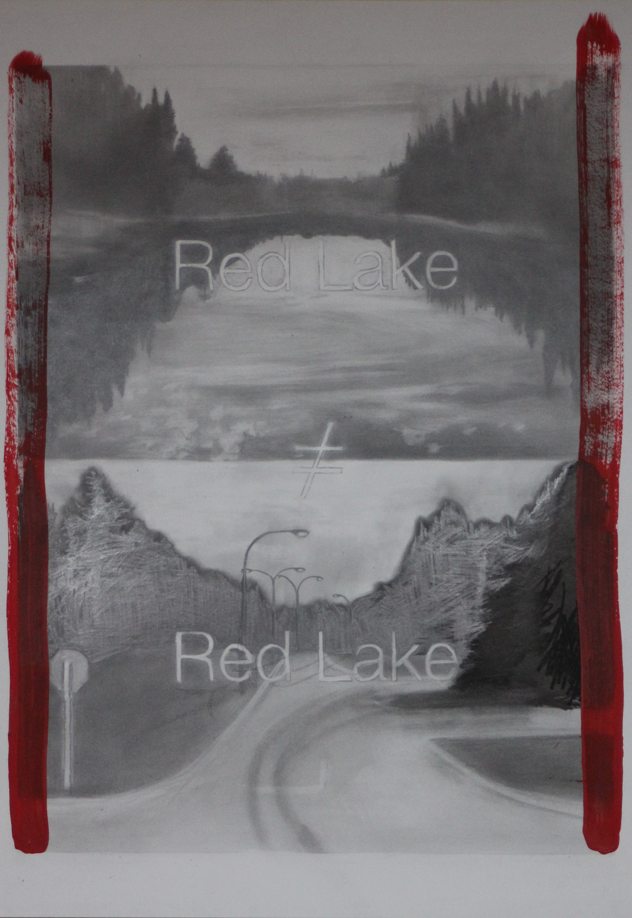 "red lake≠redlake,  2012, graphite and acrylic on paper, 22"" x 30""."