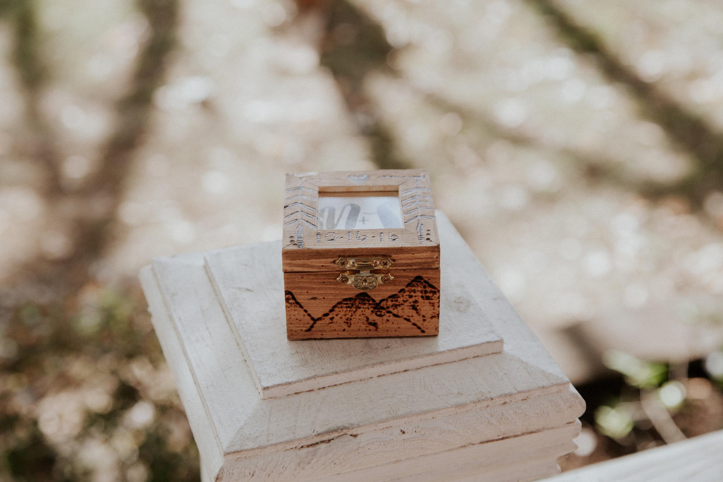 Wood burned ring box