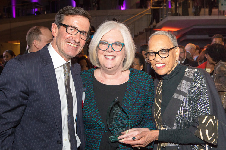 Patty Stonesifer of Martha's Table (center) with Bruce McNamer (CEO, The Community Foundation) and Dr. Johnnetta B. Cole (Director, Smithsonian National Museum of African Art).