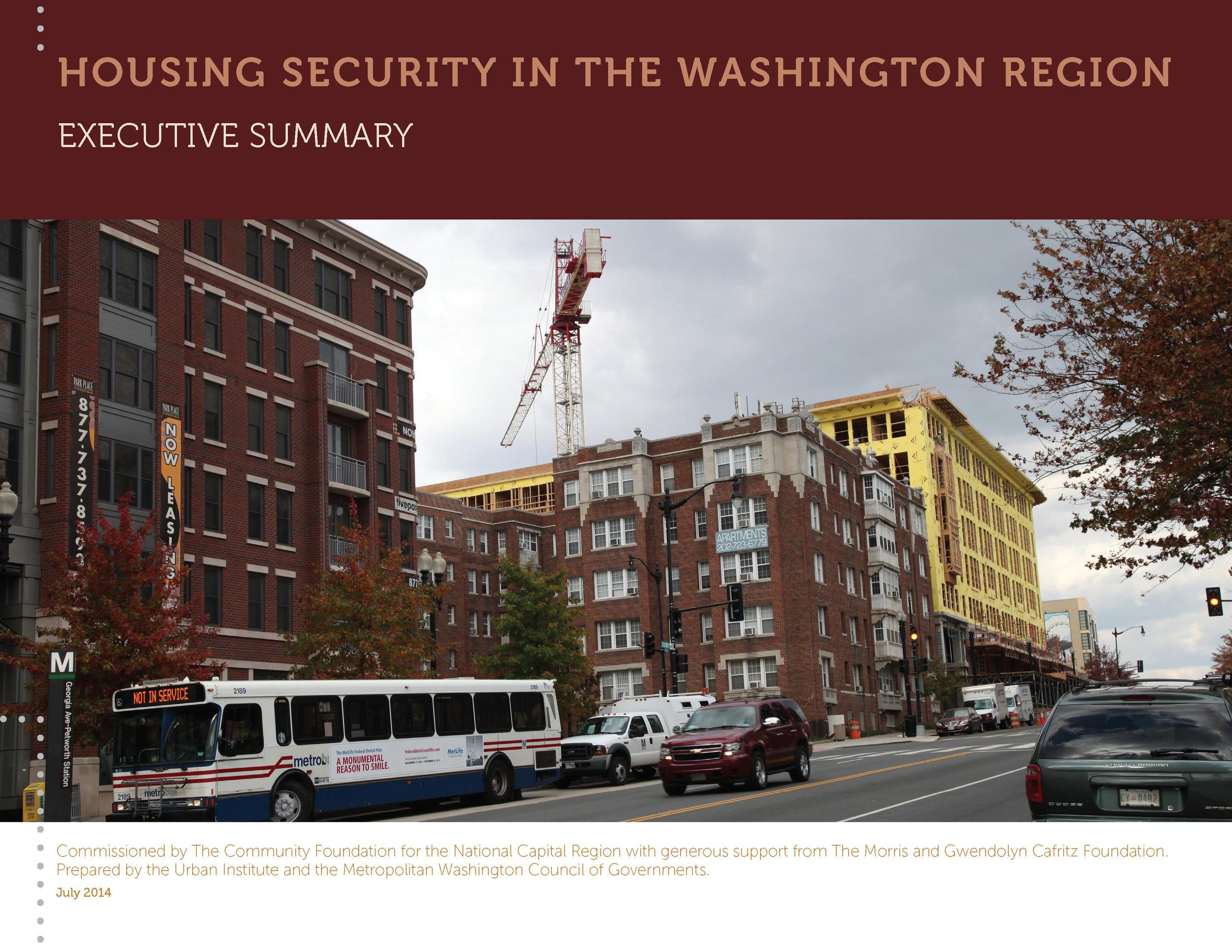 Housing Security in the Washington Region (Executive Summary)