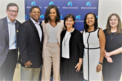 Former First Lady Michelle Obama and ESPN's Michael Wilbon are hosting a conversation at Dunbar High School in Washington, DC July 27, 2017 with rising college freshmen who are beating the odds by pursuing a post-secondary degree.  (Photo by Chuck Kennedy)