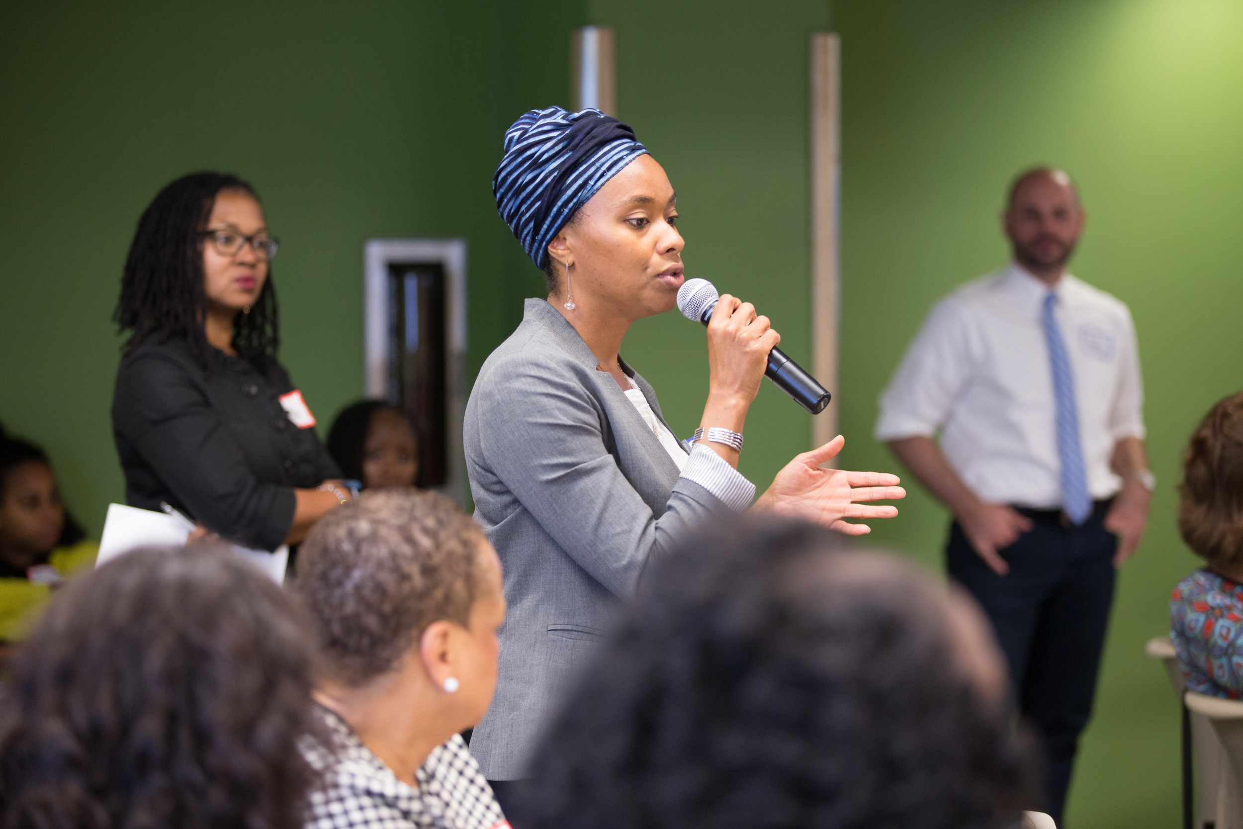 - A community member speaks at a community conversation in Northern Virginia.Photo by AOTA Creative Group.