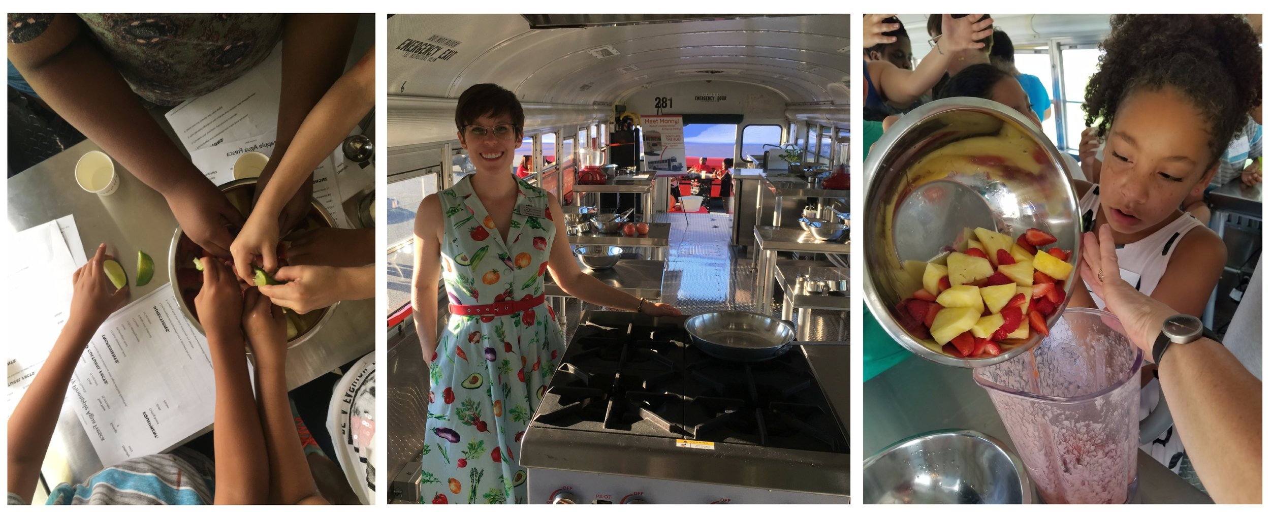 Photos of programs, staff and volunteers inside Manna Food Center's bus that serves as a kitchen-classroom and mobile food pantry on wheels. Photos courtesy of Manna Food Center.