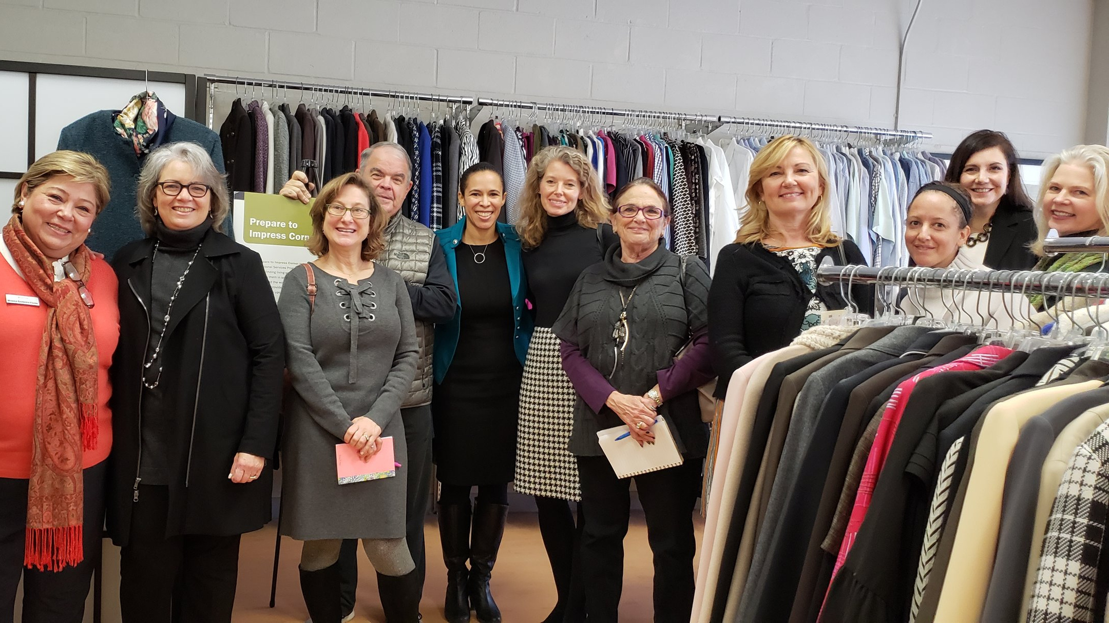 Members of our Sharing Montgomery Committee visited the nonprofit Interfaith Works, which provides free clothing and household goods to 13,000 income-qualified residents each year, as well as classes and other resources.