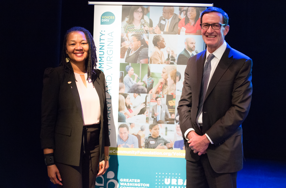 Interim President & CEO Tonia Wellons and outgoing President & CEO Bruce McNamer in 2017 at the release event for the inaugural VoicesDMV report.