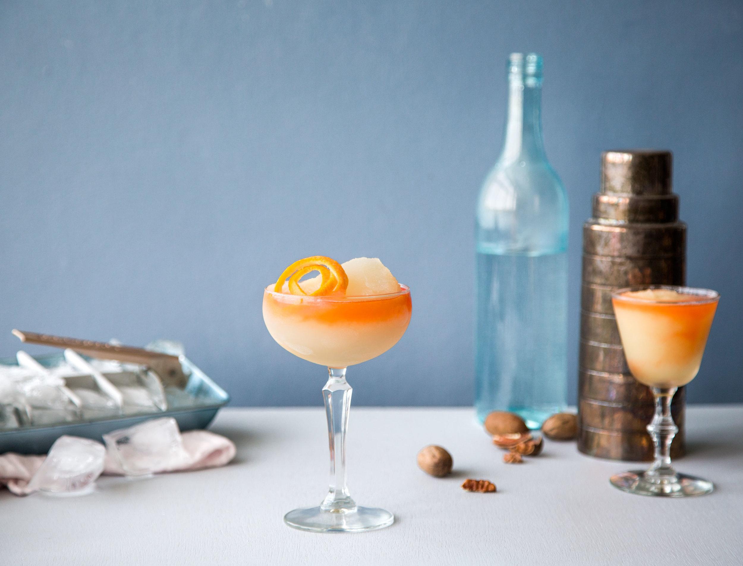 Frozen Negroni - Kelvin Citrus Slush Mix, Campari, Gin, Sweet Vermouth, Orange Juice
