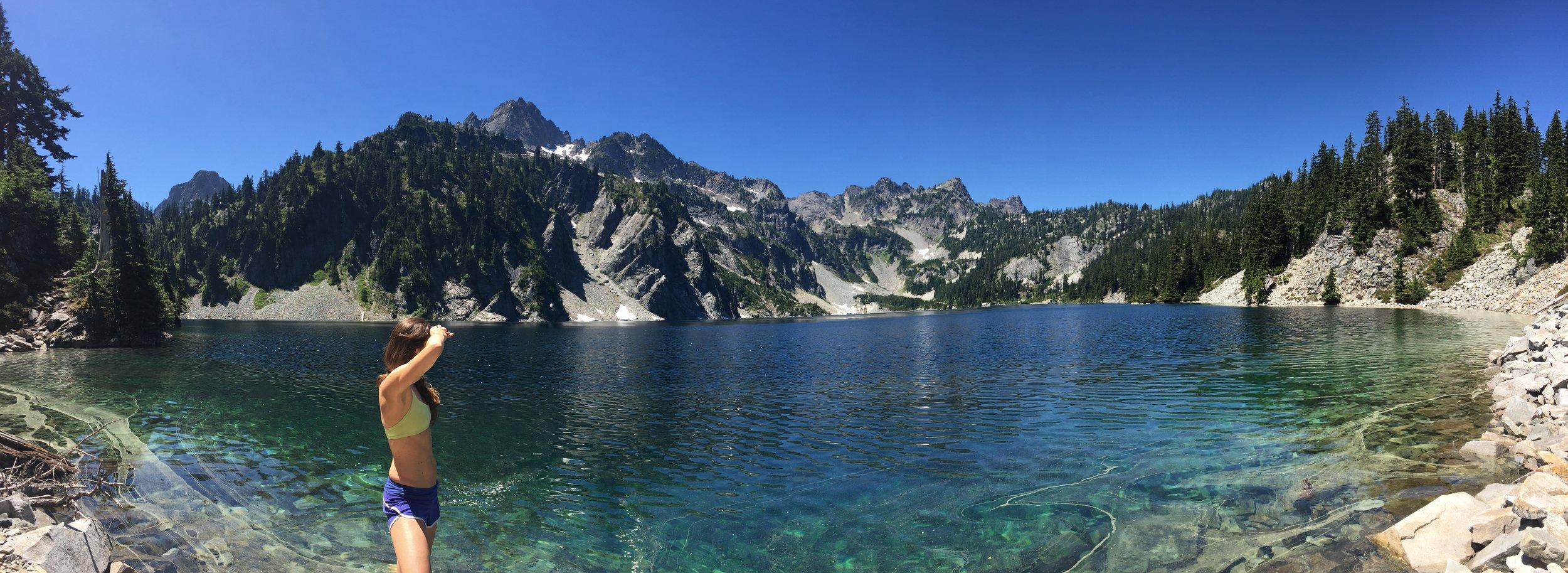Panorama of Snow Lake hike in WA, PNW