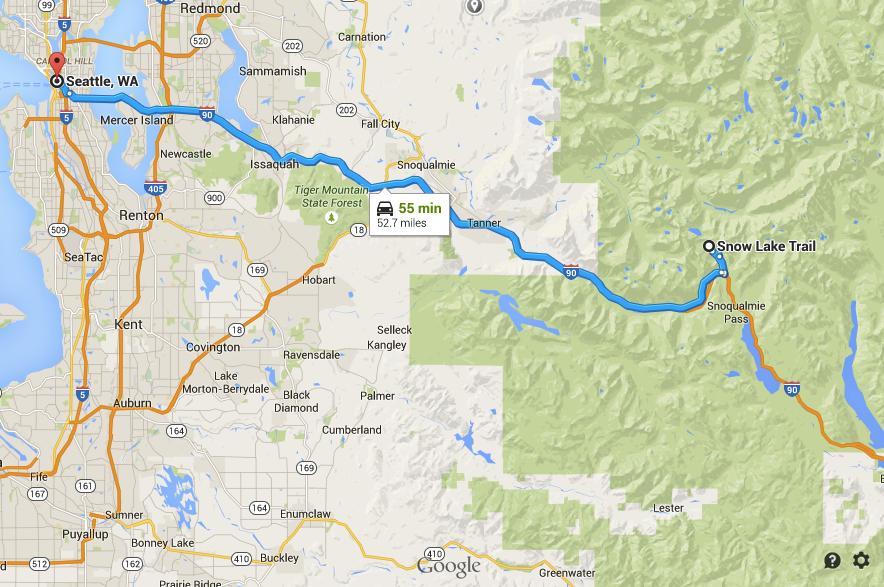 Google Maps- Seattle to Snow Lake