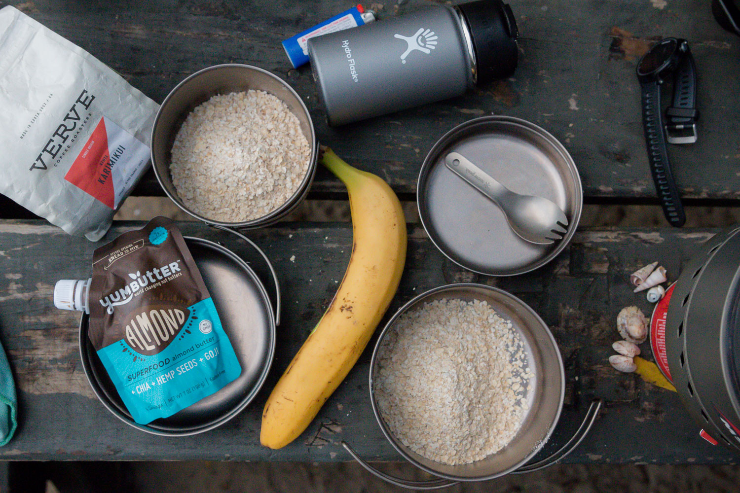 typical breakfast scene // Multi Compact Titanium Cook-set from Snow Peak + Hydro Flask Coffee Mug