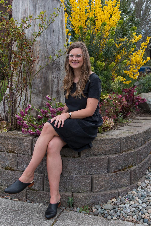 Lauren wearing the original linen dress.