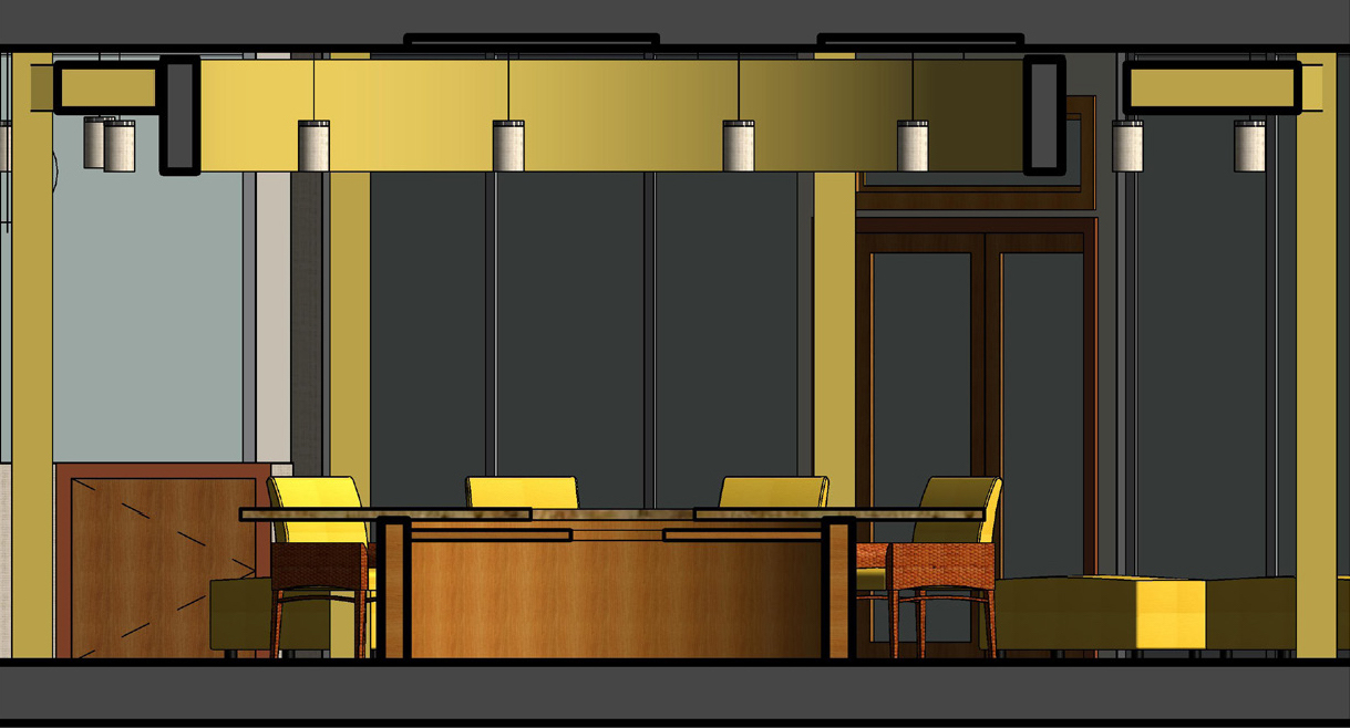 Section of Concierge Desk, Bar, & Celing Element