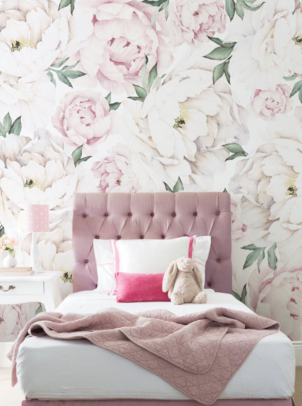 Pink Peony Mural Wallpaper